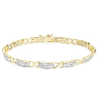 Finesque Gold Over Sterling Silver 1/3ct TDW Diamond XO Bracelet