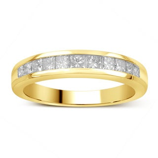 Divina 14k Gold 3/4ct TDW Princess-Cut Diamond Channel Set Wedding Band