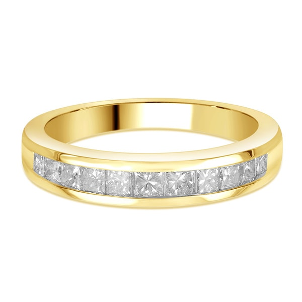 Divina 14k Gold 3 4ct TDW Princess Cut Diamond Channel Set Wedding Band