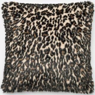 Faux-fur Black/ Tan Leopard Throw Pillow or Pillow Cover 22 x 22