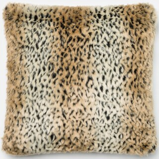 Faux Fur Tan/ Black Cheetah Down Feather or Polyester Filled 22-inch Throw Pillow or Pillow Cover