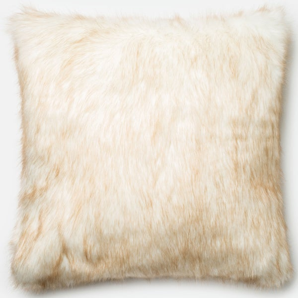 Faux Fur Ivory/ Camel Down Feather or Polyester Filled 22-inch Throw Pillow or Pillow Cover