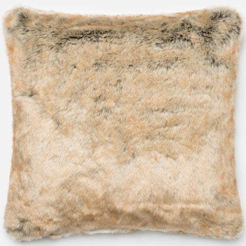 Faux-fur Beige 22-inch Throw Pillow or Pillow Cover