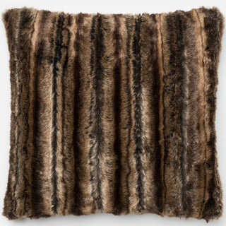 Faux Fur Brown Mink Striped Down Feather or Polyester Filled 22-inch Throw Pillow or Pillow Cover