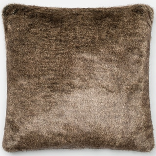 Faux Fur Light Brown Down Feather or Polyester Filled 22-inch Throw Pillow or Pillow Cover