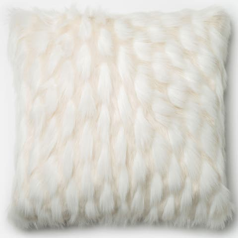 Faux-fur White Textured 22-inch Throw Pillow or Pillow Cover
