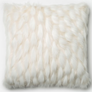 Link to Faux-fur White Textured 22-inch Throw Pillow or Pillow Cover Similar Items in Decorative Accessories