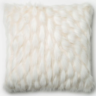 Faux Fur White Textured Throw Pillow or Pillow Cover 22 x 22