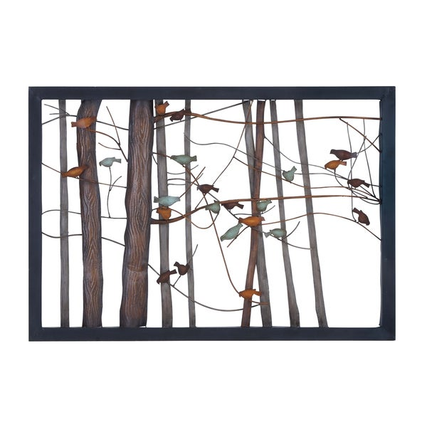 Birds on Branches Metal Tree Trunk Sculpture - Free Shipping Today - Overstock.com - 17668461