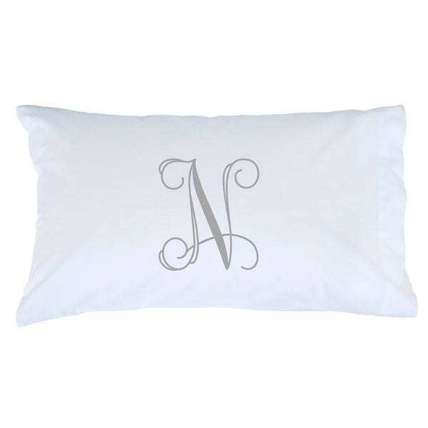 Grey Initial Personalized Pillowcase