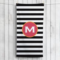 Black and White Stripes Personalized Beach Towel