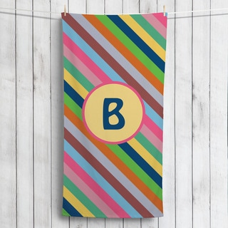 Colorful Stripes Personalized Beach Towel