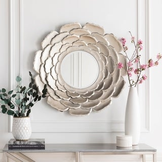 "Molly Champagne Silver Flower Round Accent Mirror - 32"" x 32"" - Champagne/Silver - 32"" x 32"""