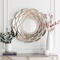 """Molly Champagne Silver Flower Round Accent Mirror - 32"""" x 32"""" - 32"""" x 32"""""""
