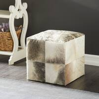 Set of 3 Traditional Tufted Leather and Wood Ottomans by Studio 350