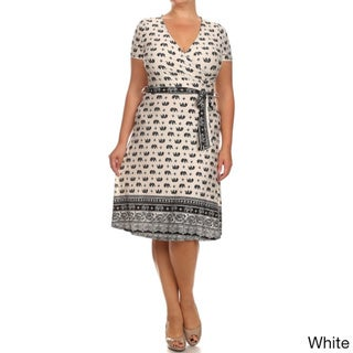 MOA Collection Women's Plus Size Elephant Print Dress