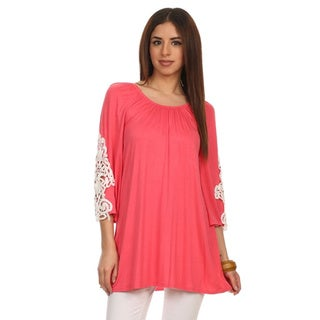 MOA Collection Women's Plus Size Top with Crochet Trim on Sleeve
