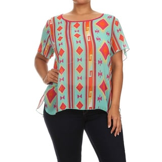 MOA Collection Women's Plus Size Aztec Print Relaxed Blouse