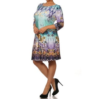 MOA Collection Women's Plus Size Floral Tunic Dress