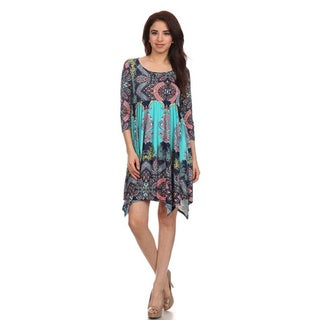 MOA Collection Women's Plus Size Print Asymmetrical Hem Dress