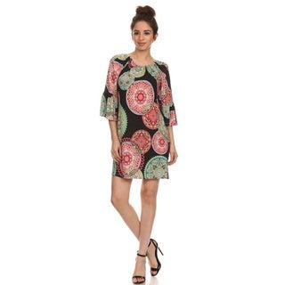 MOA Collection Women's Plus Size Mini Dress with Elasticized Neckline