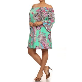 MOA Collection Women's Plus Size Paisley Print Dress with Kimono Sleeves