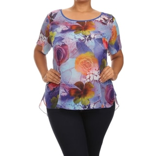 MOA Collection Women's Plus Size Flower Print Relaxed Blouse