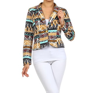 MOA Collection Women's Plus Size Tribal Print Blazer