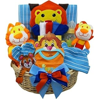 Cuddly Lion Cub Baby Boy Gift Basket