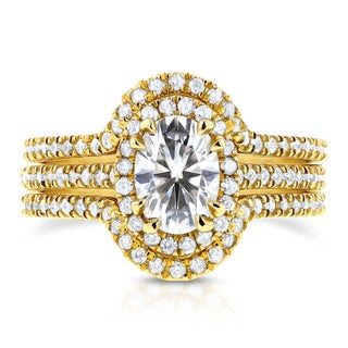 Annello By Kobelli 14k Yellow Gold 1 1 2ct TGW Oval Moissanite And Diamond Halo Bridal Rings Set 3 Piece Set