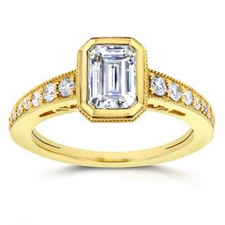 Annello by Kobelli 14k Yellow Gold Emerald Moissanite Bezel and 1/4ct TDW Diamond Elongated Octagona