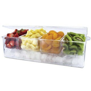 Clear Acrylic Chilled Condiment Server with 4 Removable Compartments and Hinged Lid