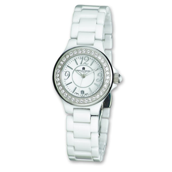 Versil Ladies Charles Hubert White Ceramic Crystal Bezel Watch