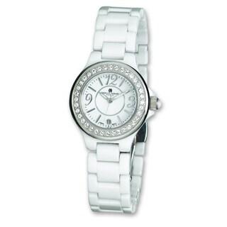 Versil Ladies Charles Hubert White Ceramic Crystal Bezel Watch