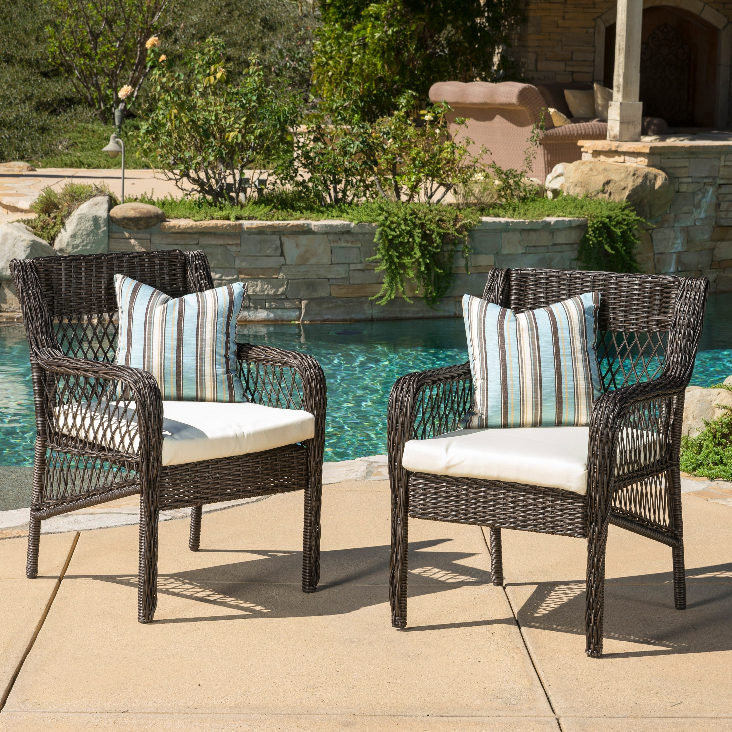 Oakridge Outdoor Wicker Dining Chair with Cushion (Set of...