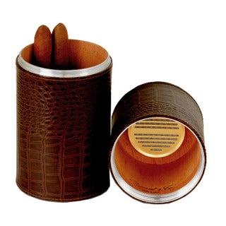 Brizard & Co Croco Tobacco Leather Cylinder Desktop Humidor