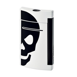 ST Dupont MiniJet White with Black Skull Torch Flame Lighter