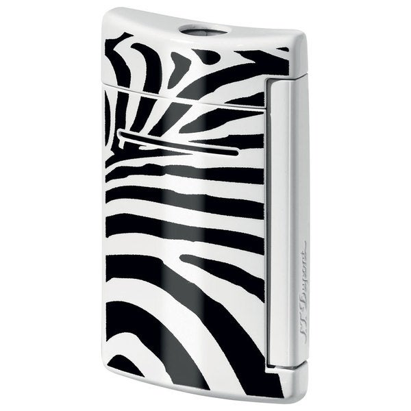 ST Dupont MiniJet Black and White Zebra Pattern Torch Flame Lighter