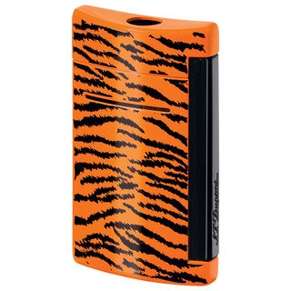 ST Dupont MiniJet Black and Orange Tiger Pattern Torch Flame Lighter