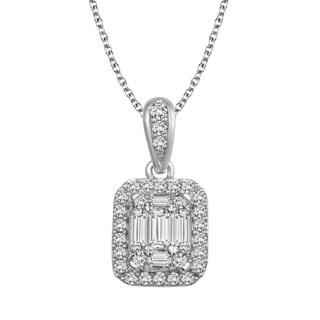 14k White Gold 1/2ct TDW Diamond Pendant Necklace (H-I, I1-I2)