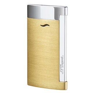 STDupont Slim 7 Single Torch Flame Lighter - Brushed Gold & Chrome