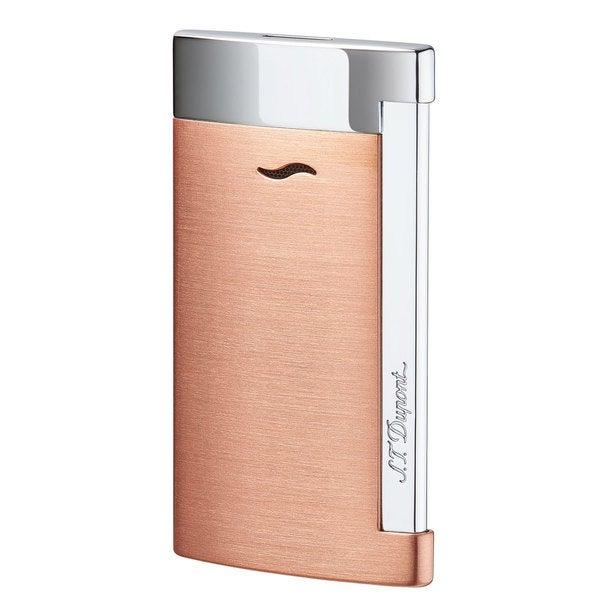 STDupont Slim 7 Single Torch Flame Lighter - Brushed Copper & Chrome