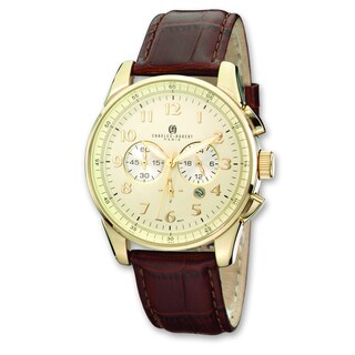 Versil Men's Charles Hubert Ion-plated Stainless Steel Leather Band Chrono Watch
