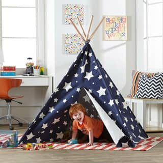 Merry Products Children's Teepee Blue with White Stars|https://ak1.ostkcdn.com/images/products/10596235/P17669493.jpg?impolicy=medium