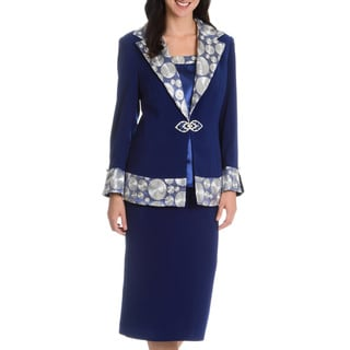 Giovanna Collection Women's Patterned 3-piece Skirt Suit