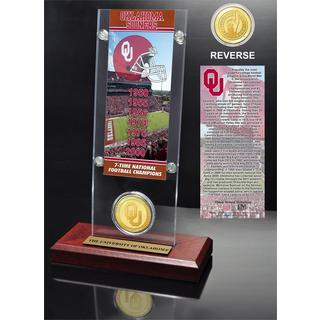 University of Oklahoma 7- time National Champions Ticket and Bronze Coin Desk Top Acrylic