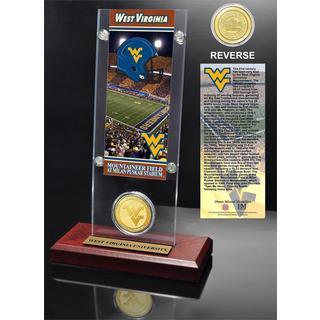 West Virginia University Ticket and Bronze Coin Desk Top Acrylic
