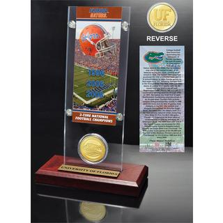 University of Florida 3- time National Champions Ticket and Bronze Coin Desk Top Acrylic