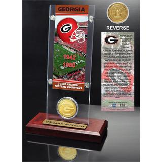 University of Georgia 2- time National Champions Ticket and Bronze Coin Desk Top Acrylic