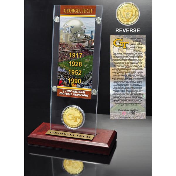Georgia Tech University 4- time National Champions Ticket and Bronze Coin Desk Top Acrylic